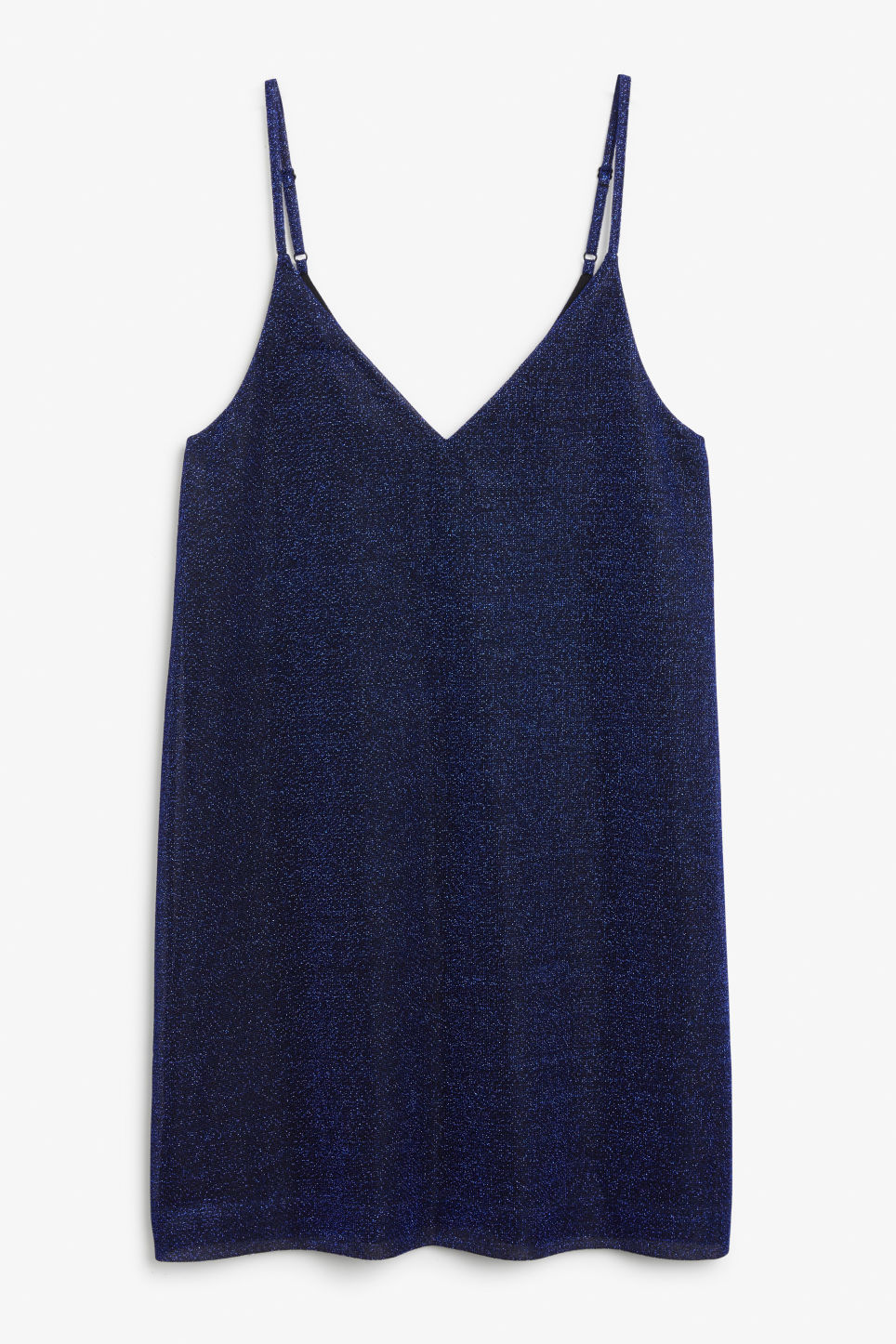 Front image of Monki slip dress in black