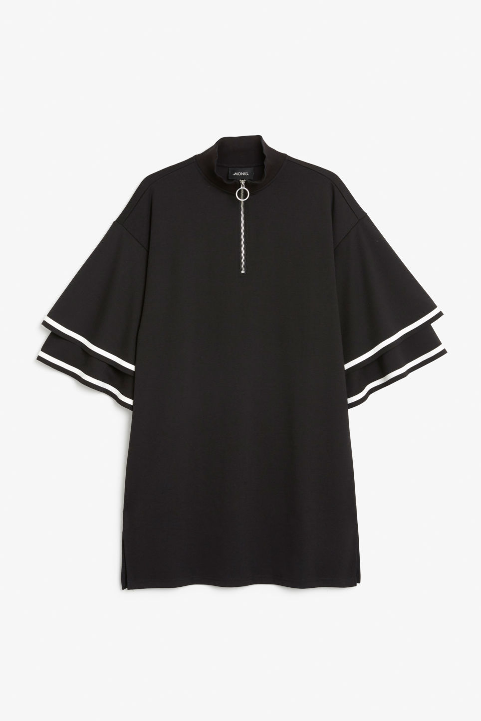 Front image of Monki ruffled bell sleeve dress in black
