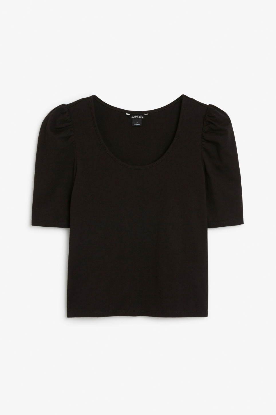 Front image of Monki puffed sleeve top in black