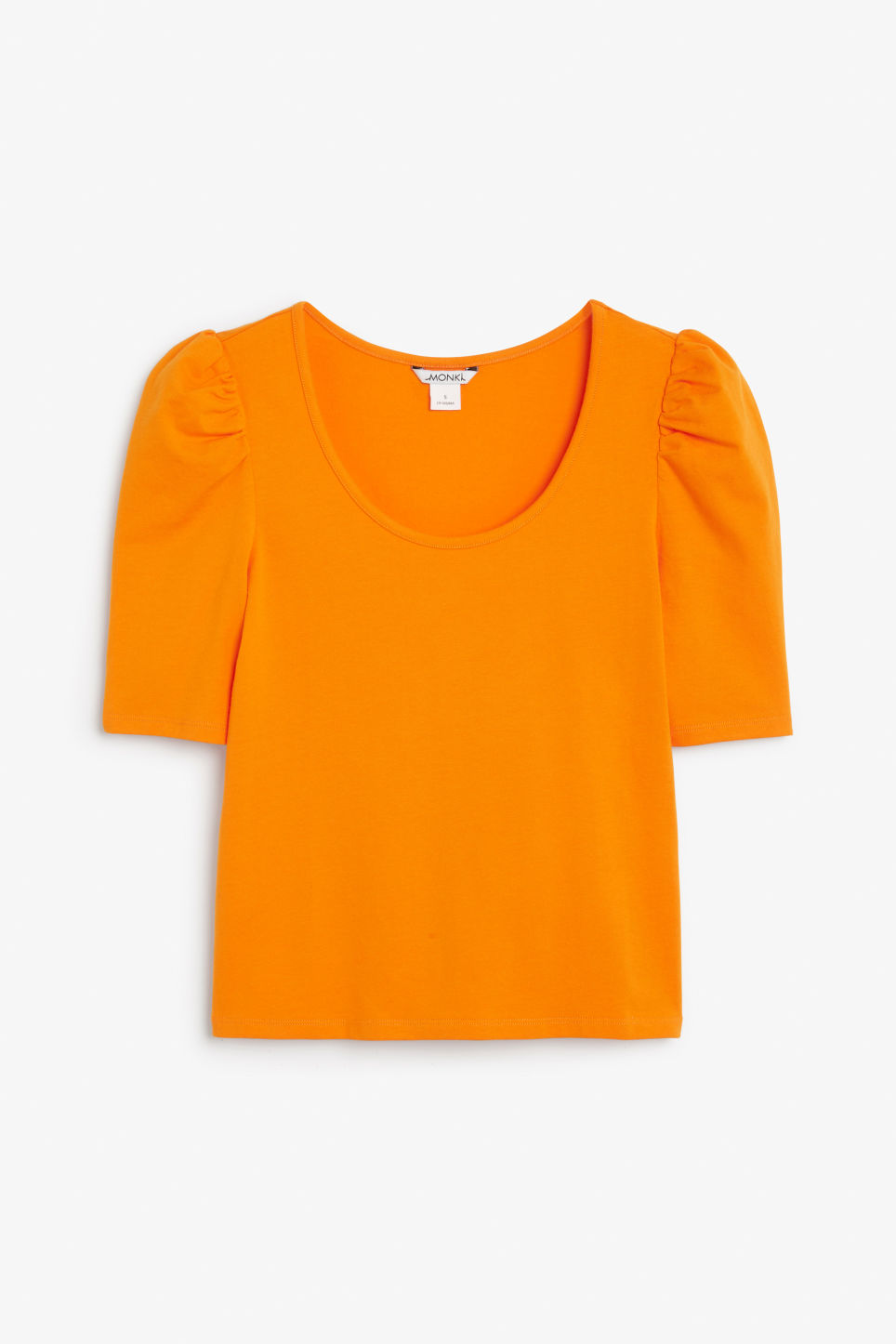 Front image of Monki puffed sleeve top in orange