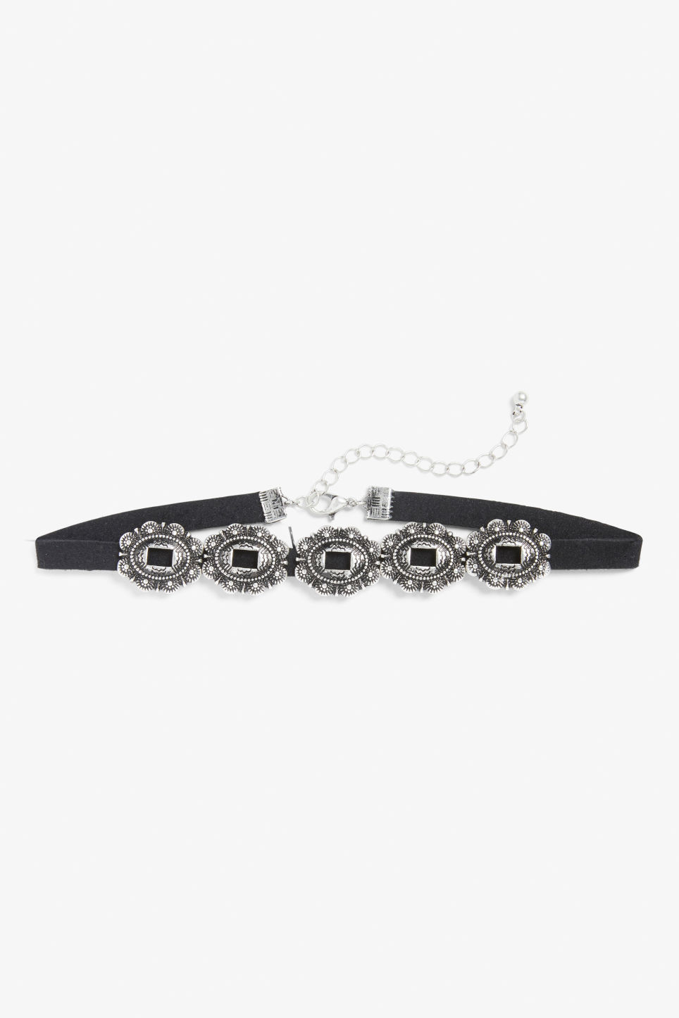 Front image of Monki brooch charm choker in black