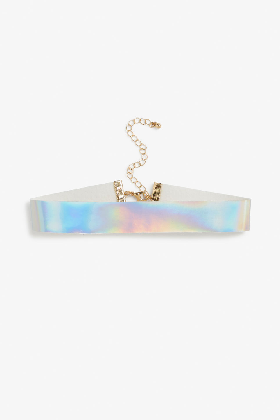Front image of Monki shiny choker in pink