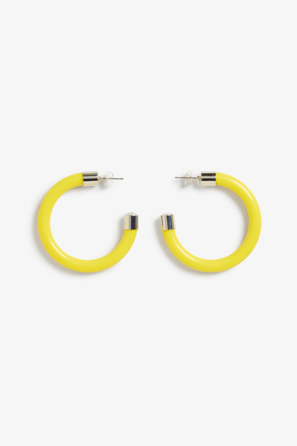 Front image of Monki hoops with detail in yellow