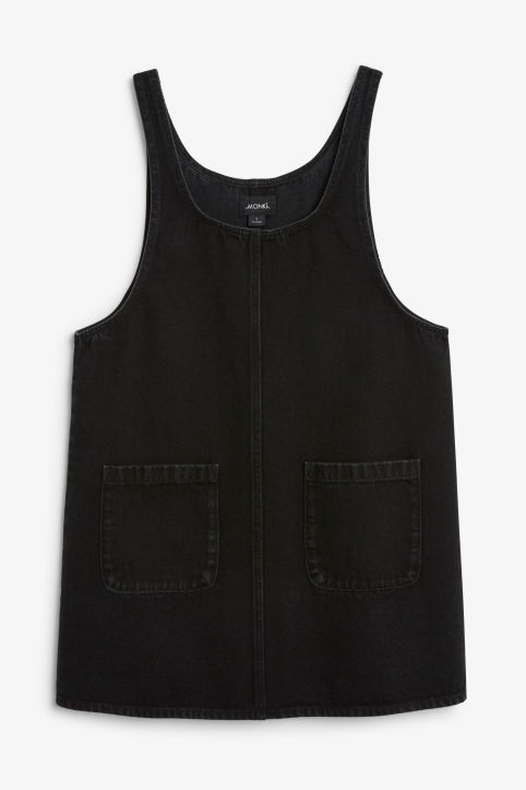 Front image of Monki denim dress in black