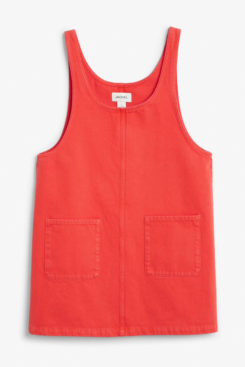 Front image of Monki denim dress in red