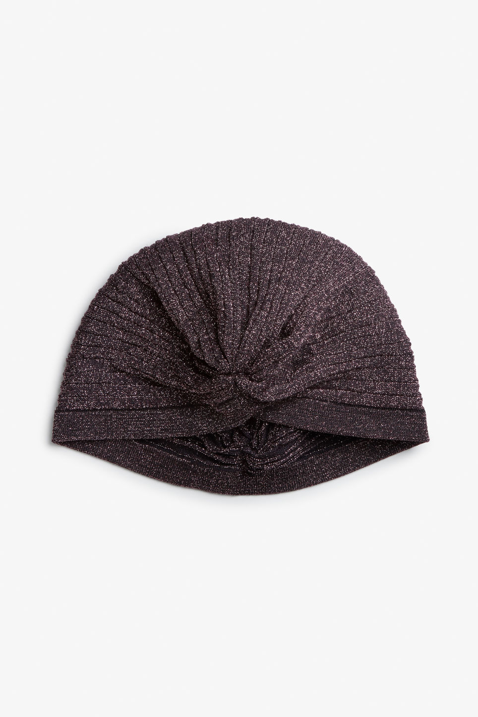 Front image of Monki glitter knot front hat in purple