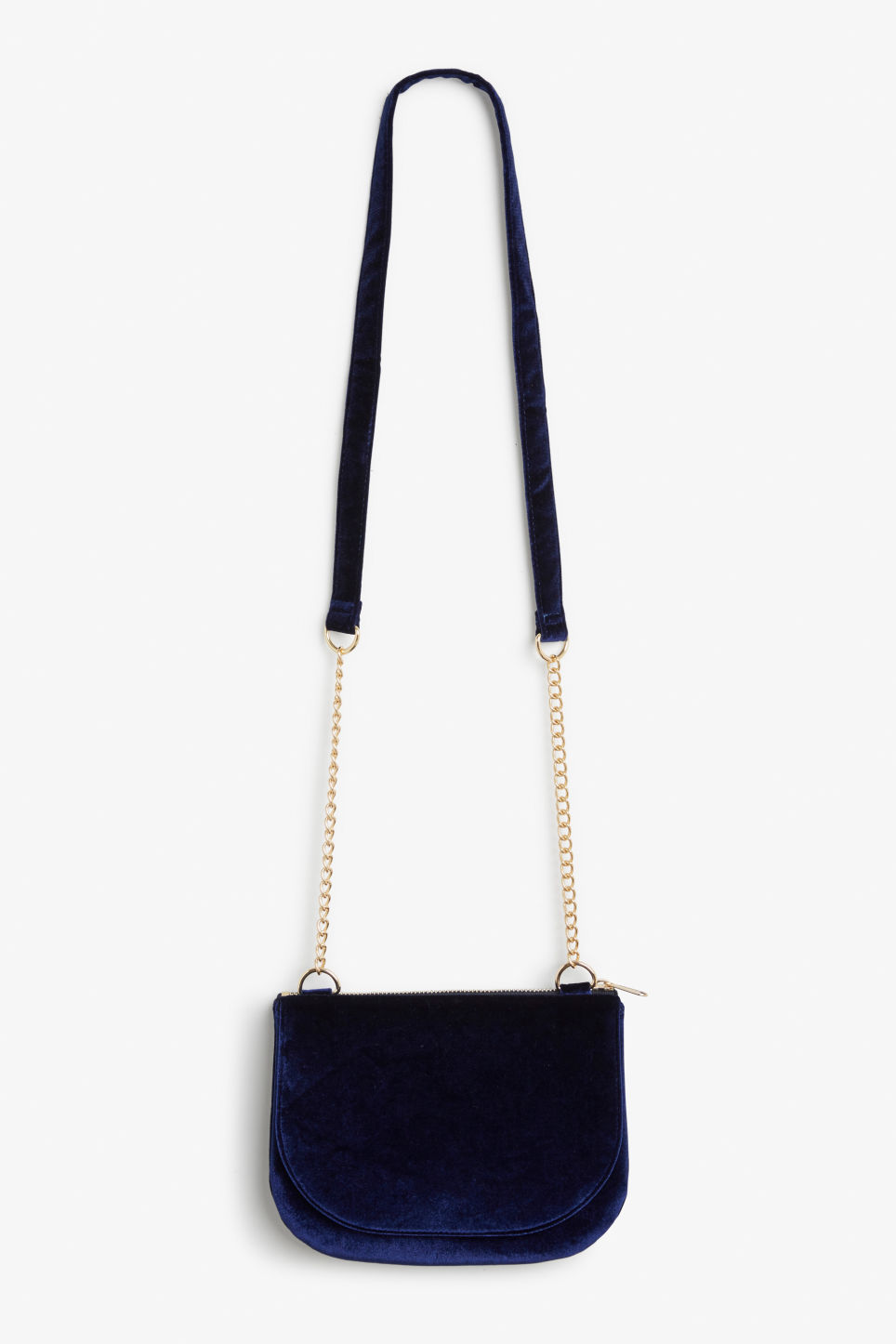 Front image of Monki velvet shoulder bag in blue