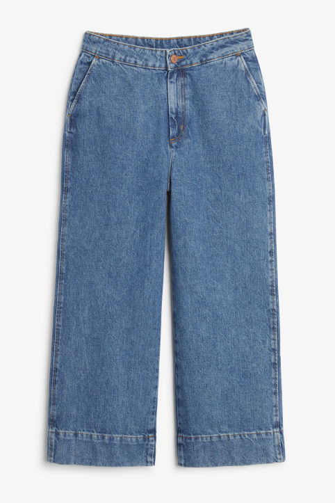 Front image of Monki wide denim trousers in blue