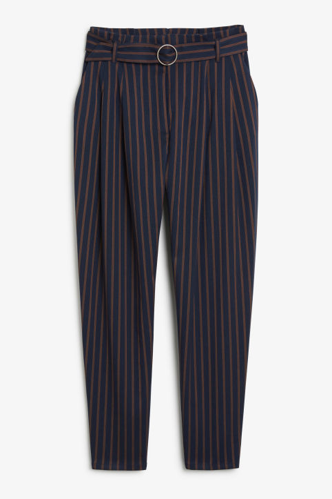 Front image of Monki wide stripe trousers in blue