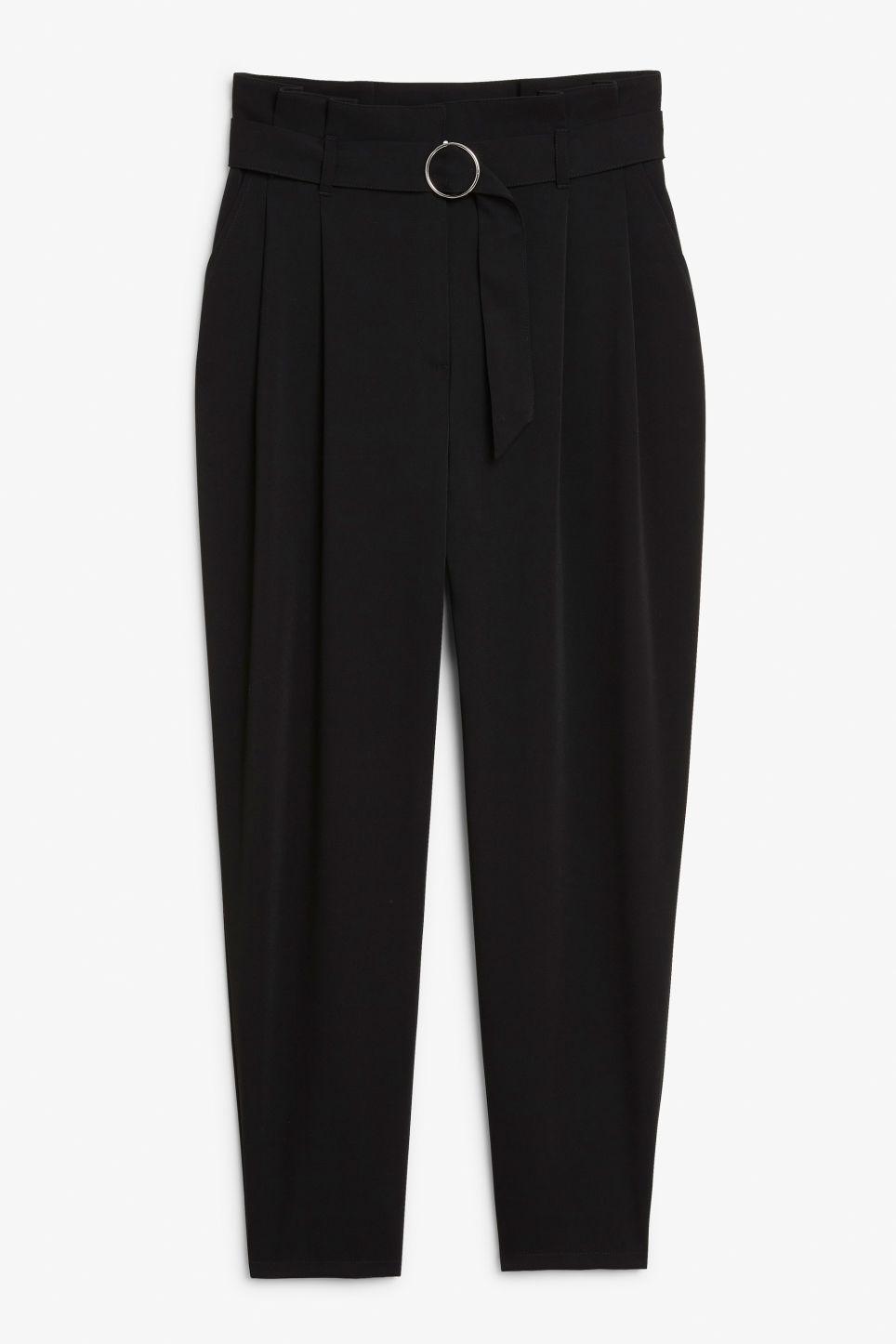 Front image of Monki wide trousers in black