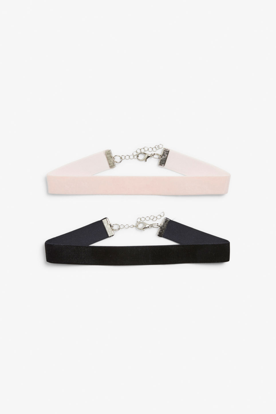 Front image of Monki pack of 2 chokers in black