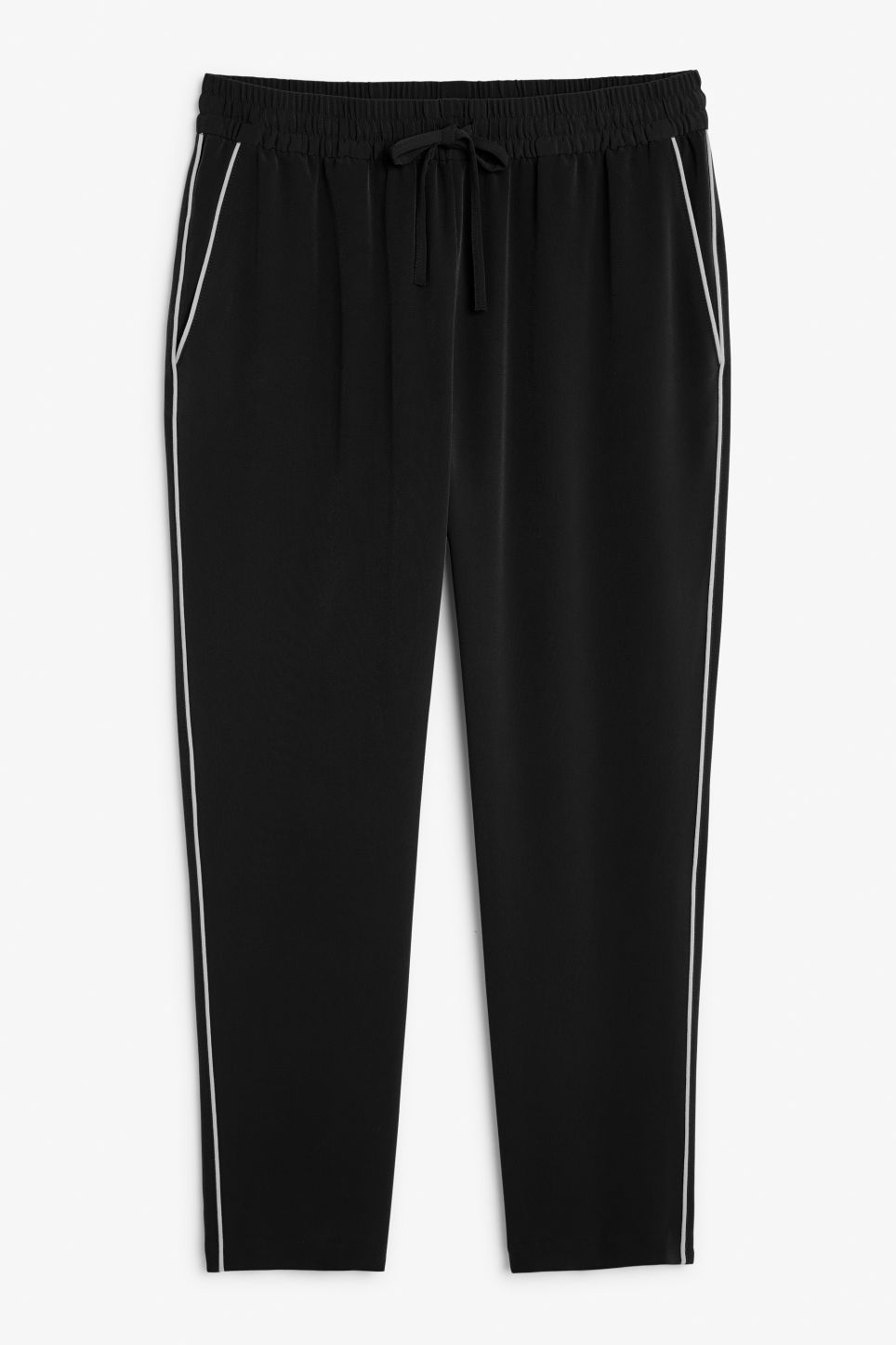 Front image of Monki cropped trousers in black