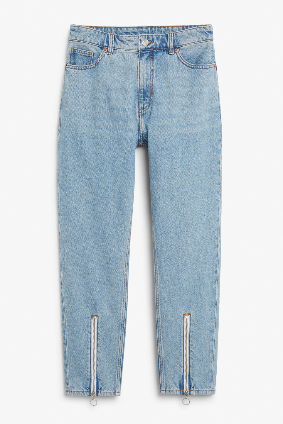 Front image of Monki kimomo zip bottom in blue