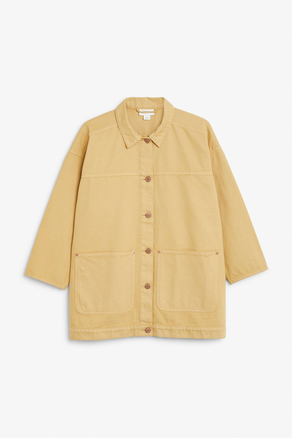 Front image of Monki denim jacket in yellow