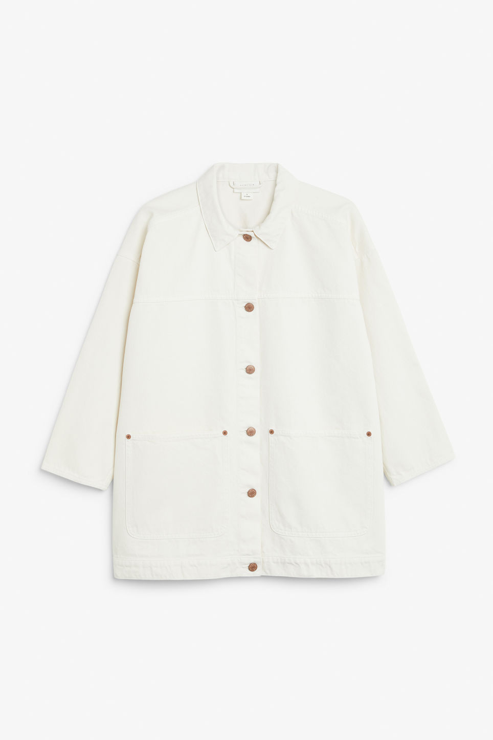 Front image of Monki denim jacket in white