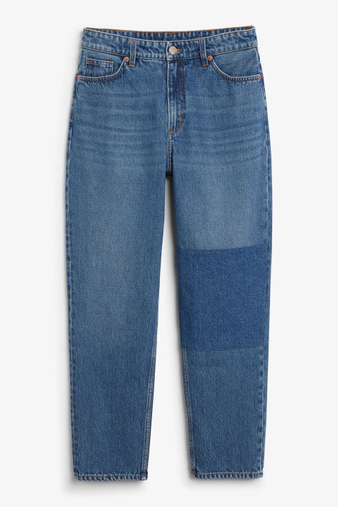 Front image of Monki taiki jeans with knee patch in blue