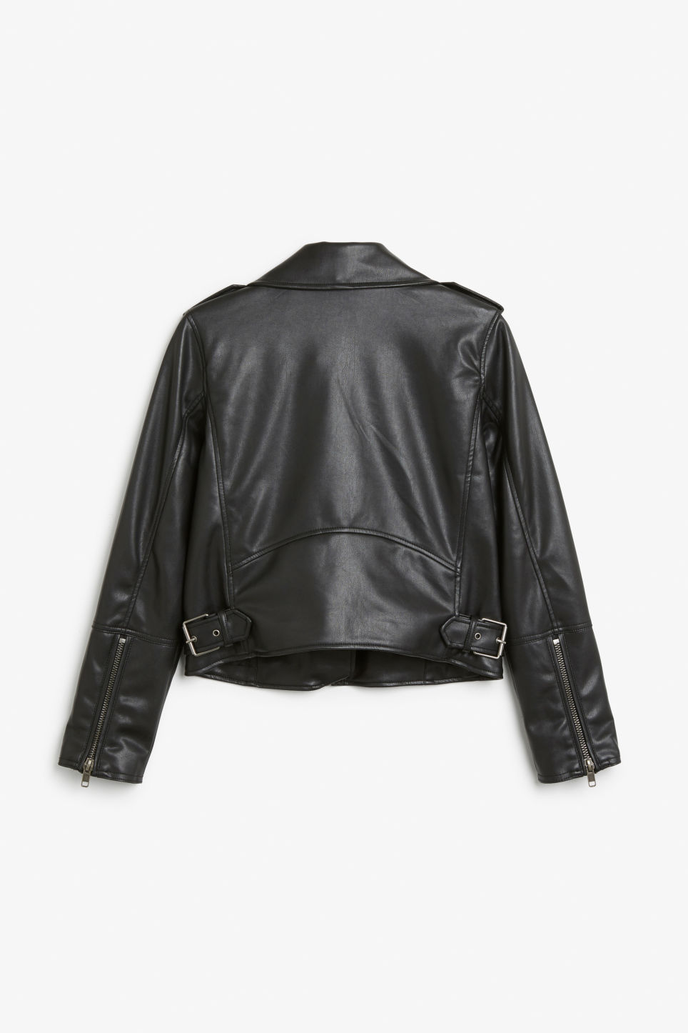 Back image of Monki cropped biker jacket in black