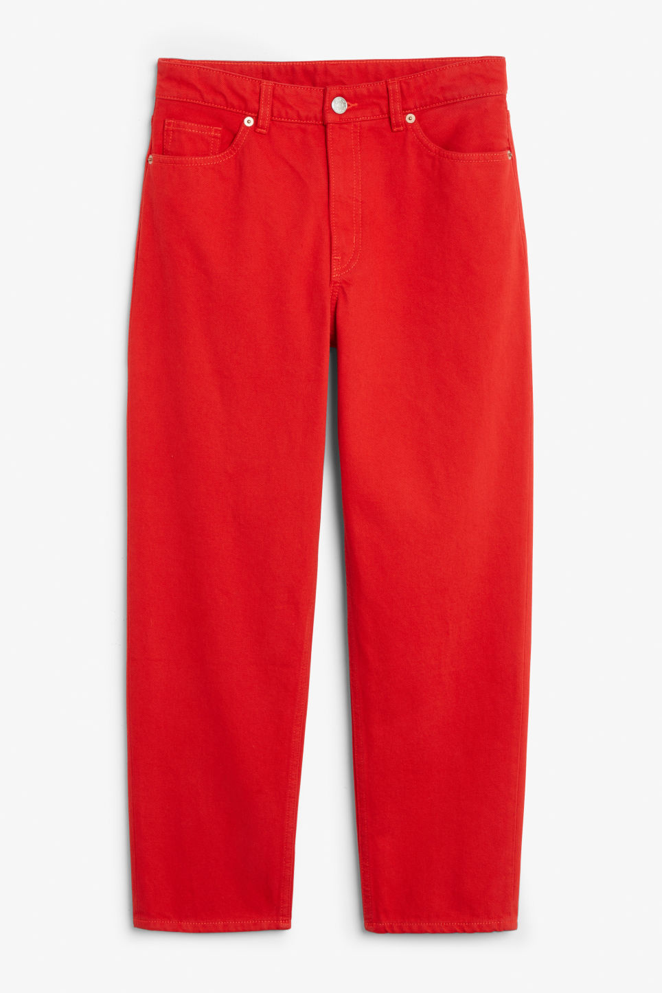 Front image of Monki taiki jeans in red
