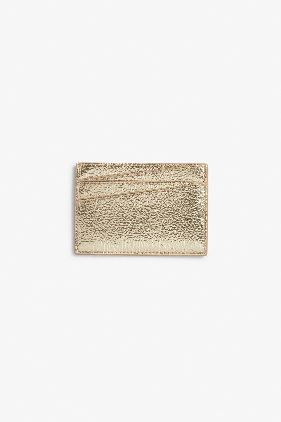 Front image of Monki card case in gold