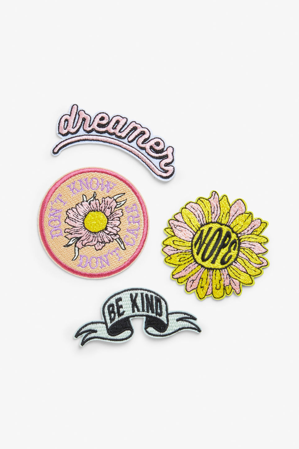 Front image of Monki embroidered patches in yellow