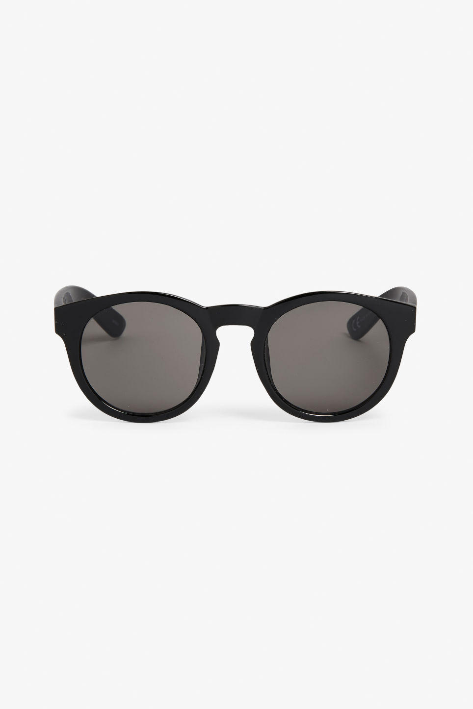 Front image of Monki round lense sunglasses in black