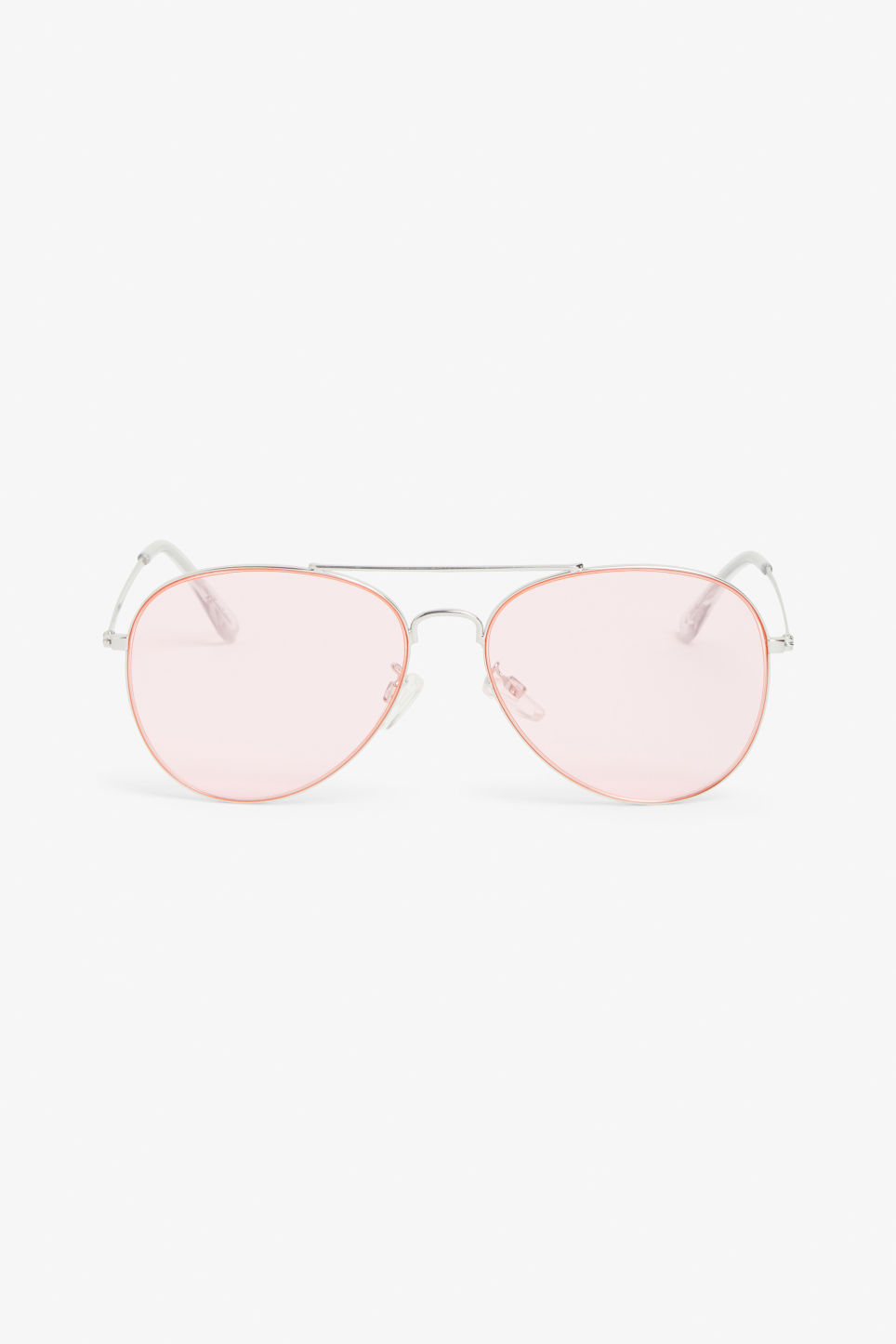 Front image of Monki pilot sunglasses in silver