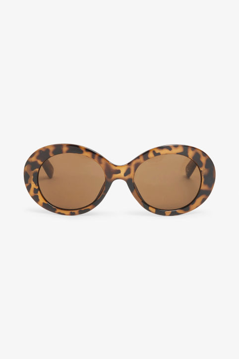 Front image of Monki oval lense sunglasses in brown