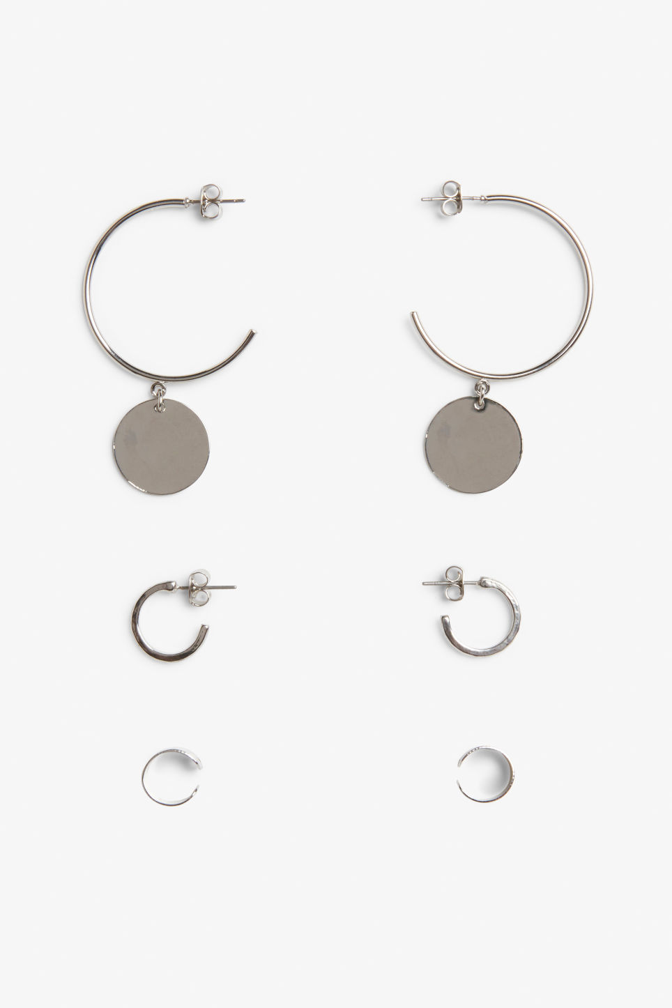 Front image of Monki assorted silvery earrings in silver