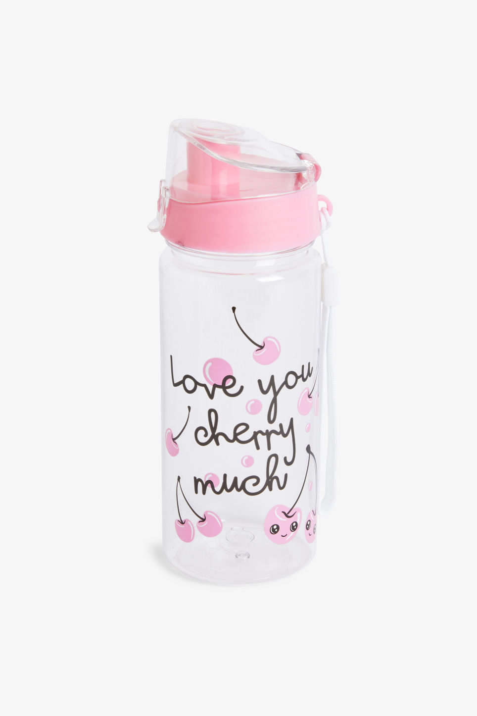 Front image of Monki water bottle in pink