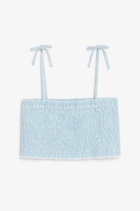 Front image of Monki denim bandeau in blue