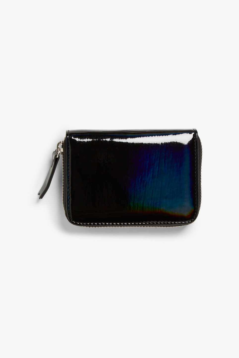 Front image of Monki zippered wallet in black