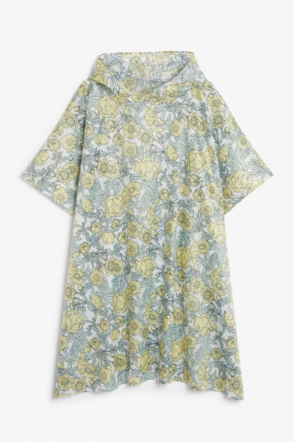 Front image of Monki foldable poncho in yellow