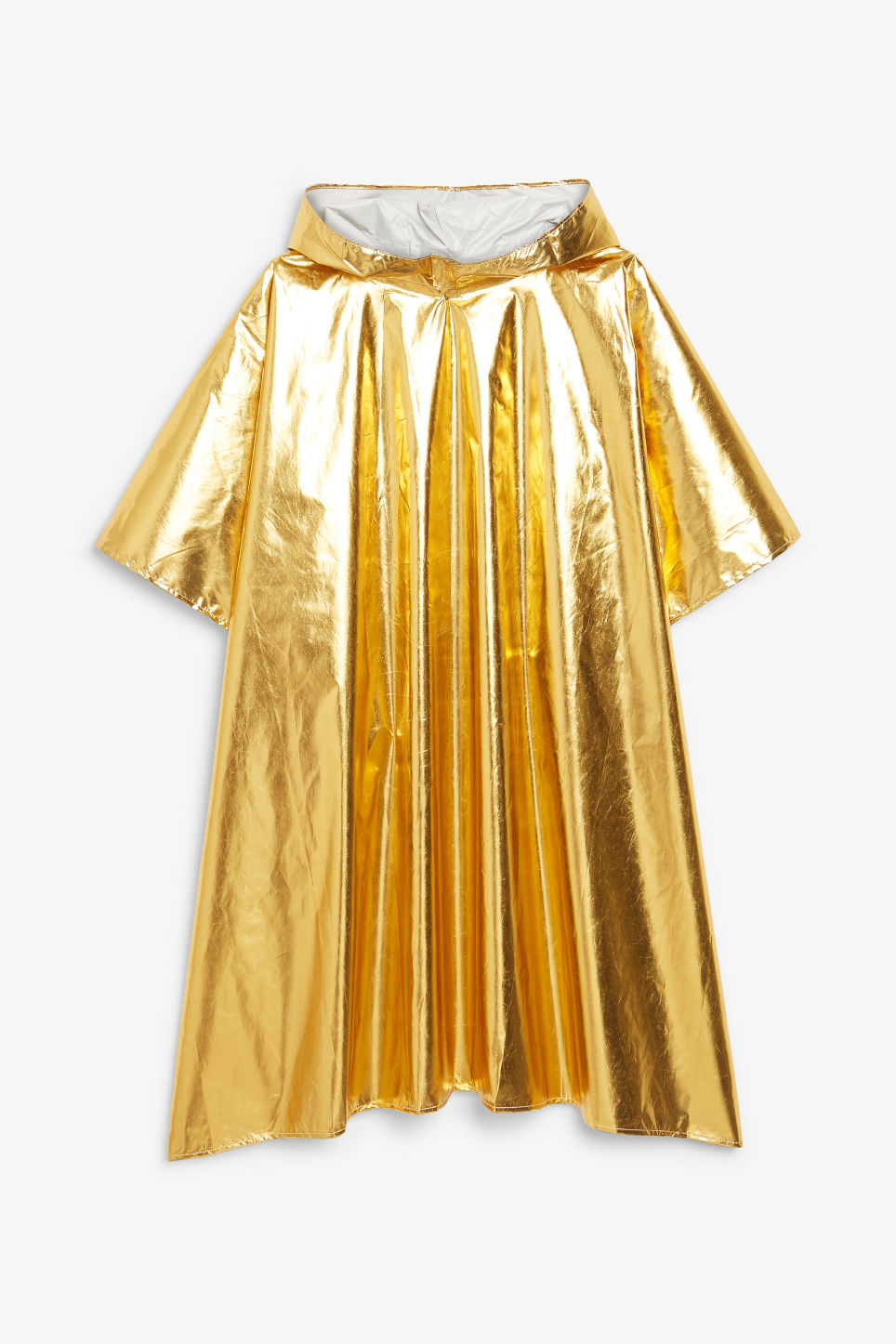 Front image of Monki foldable poncho in gold