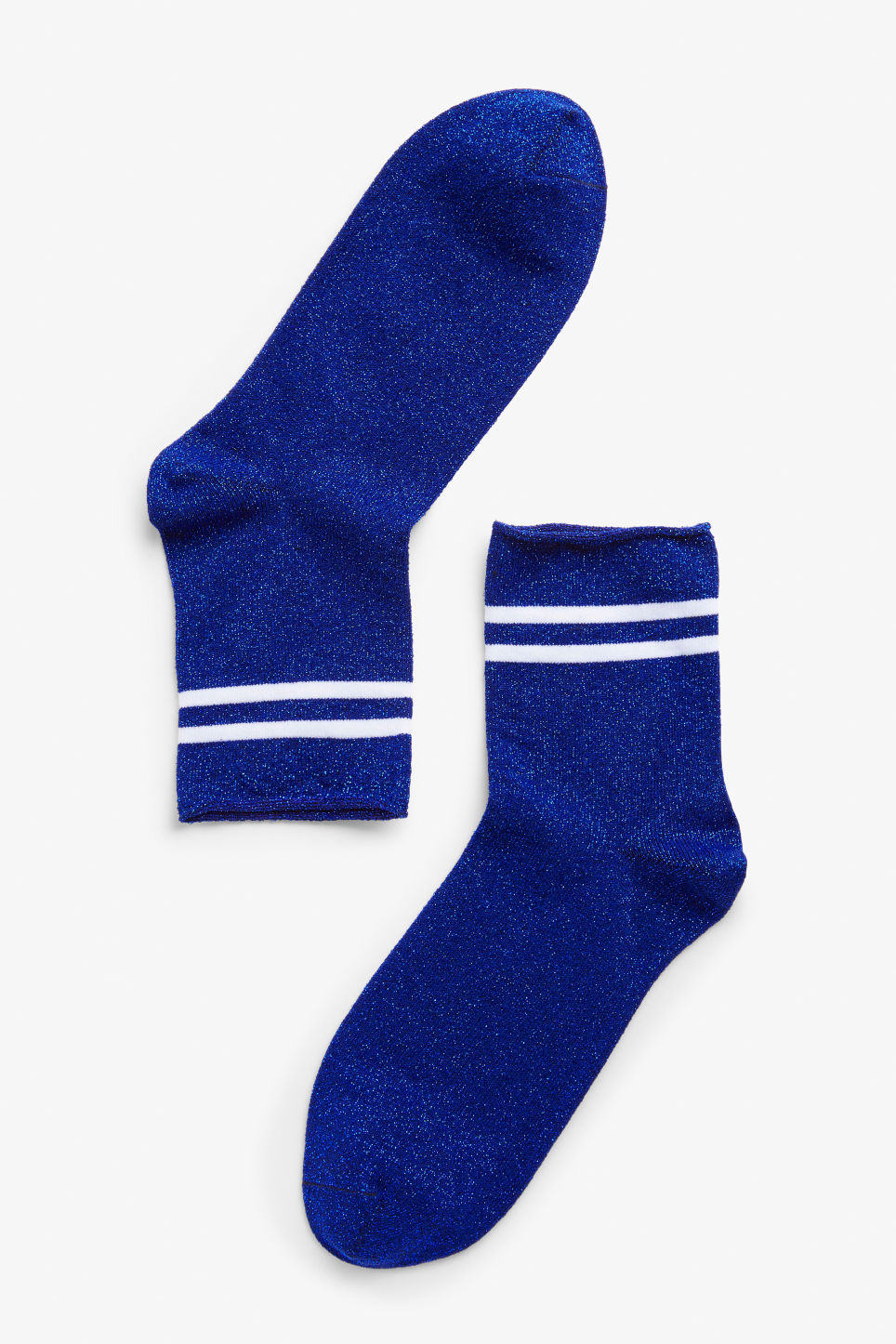 Front image of Monki glitter socks in blue