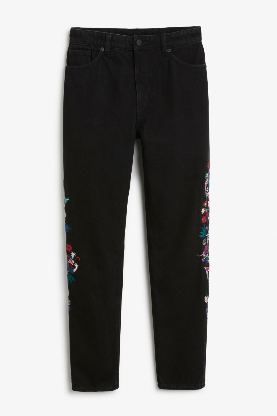 Front image of Monki kimomo dragon embroidered jeans in black