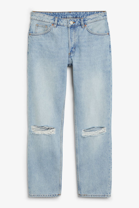 Front image of Monki mokonoki distressed jeans in blue