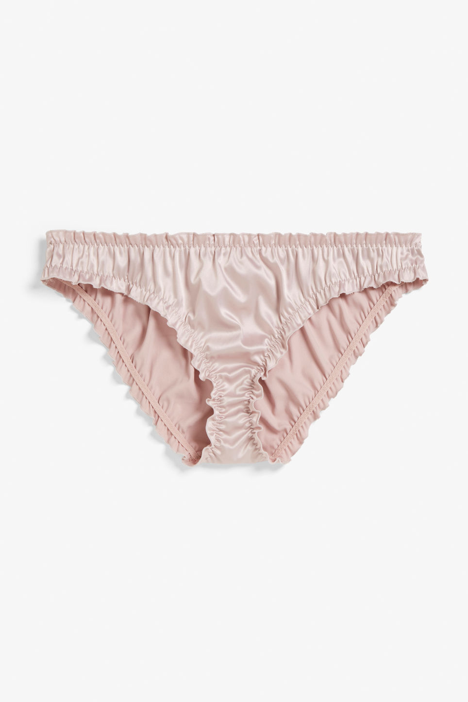 Front image of Monki silky brief in pink