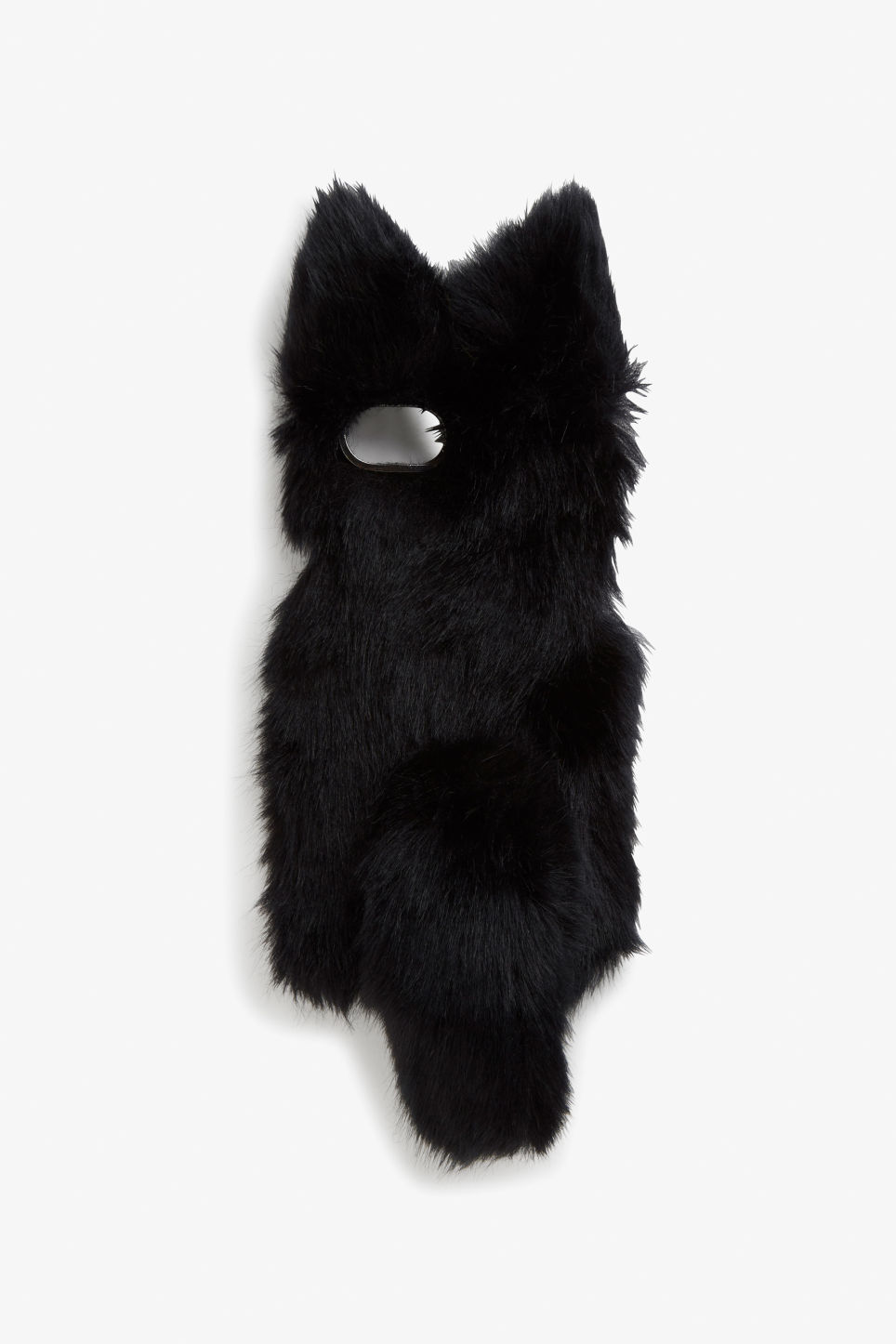 Front image of Monki furry phone case in black