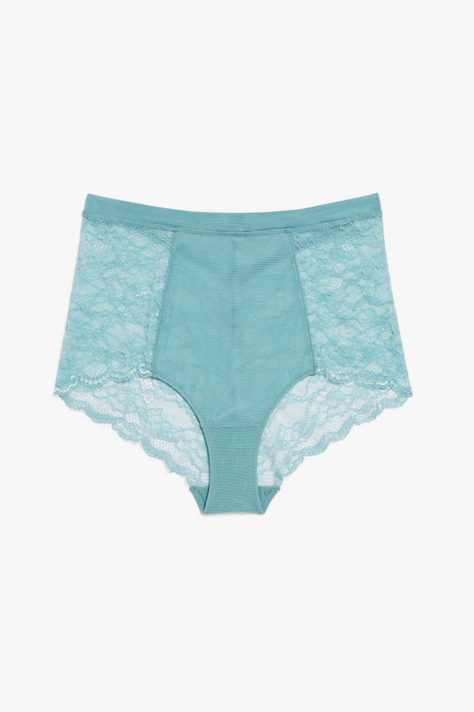 Front image of Monki high waist lace briefs in turquoise
