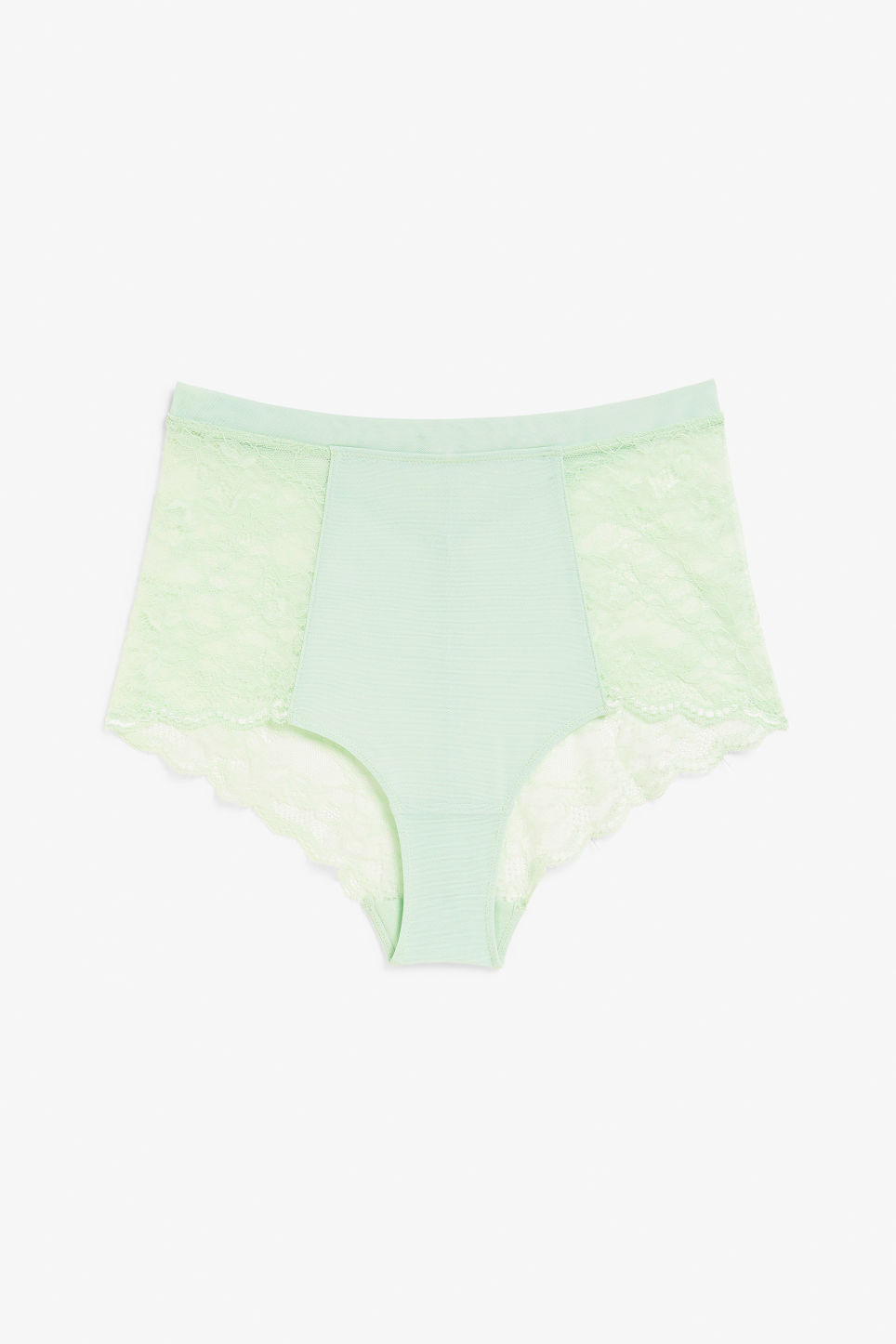 Front image of Monki high waist lace briefs in green