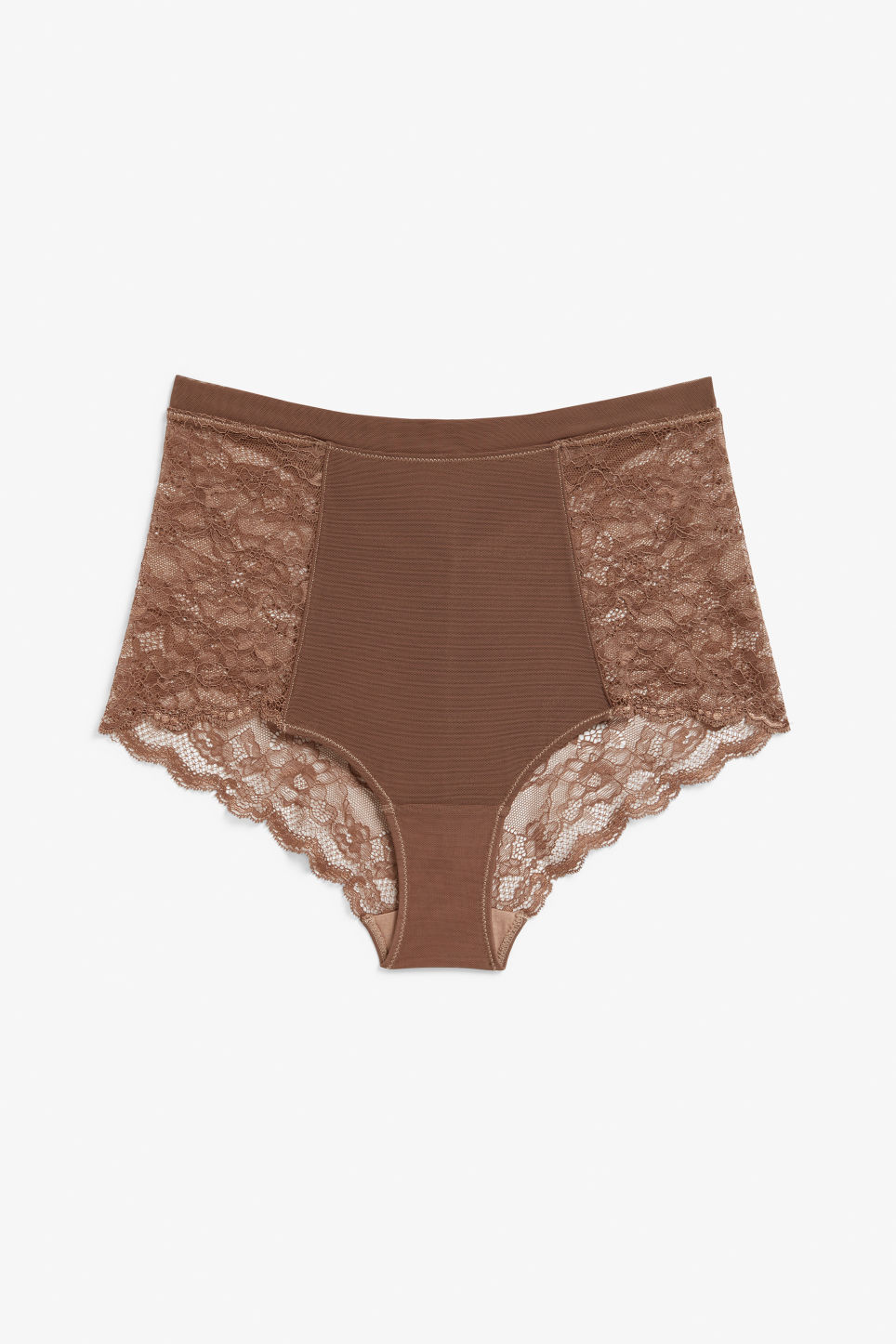 Front image of Monki high waist lace briefs in beige