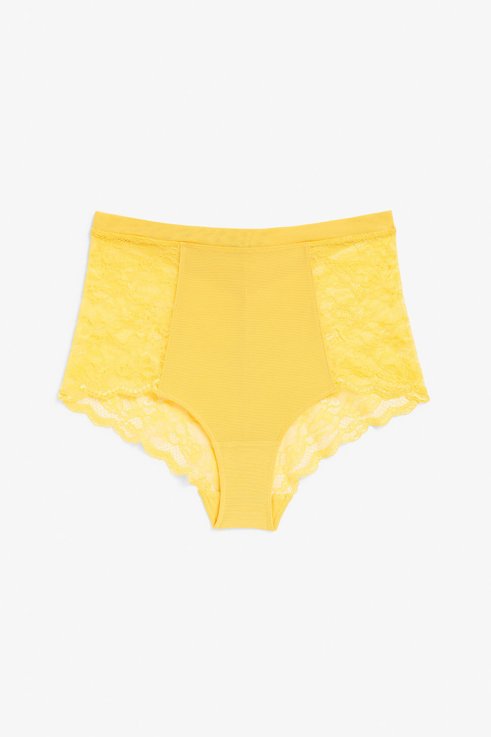 Front image of Monki high waist lace briefs in yellow