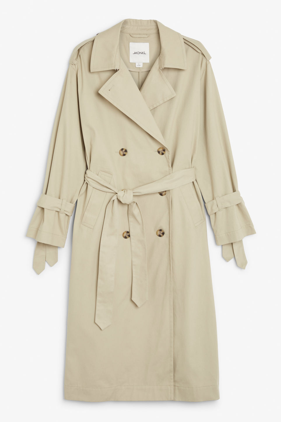 Front image of Monki classic trench coat in beige