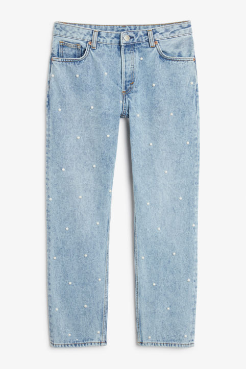 Front image of Monki mokonoki pearl jeans in blue