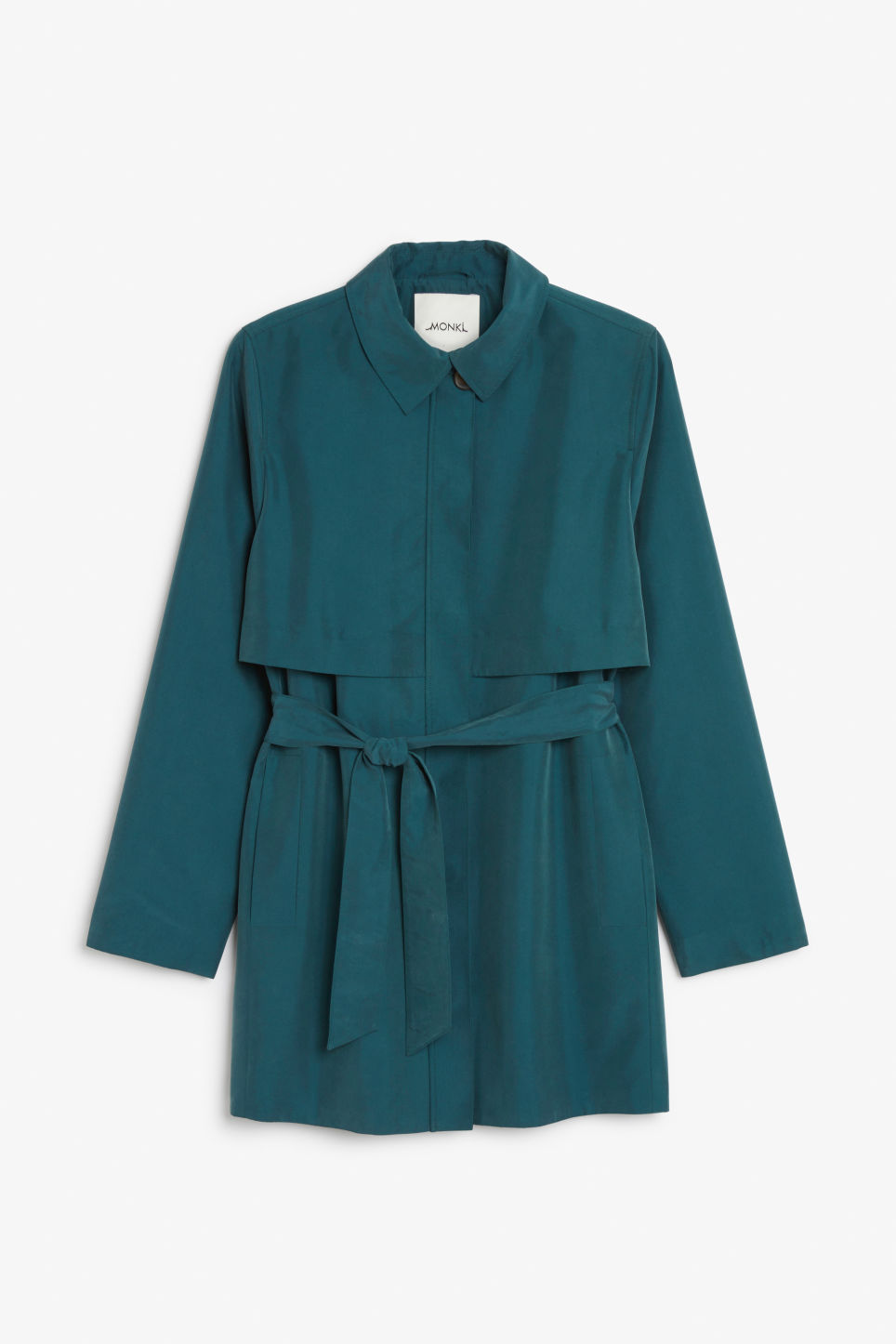 Front image of Monki soft trench coat in green