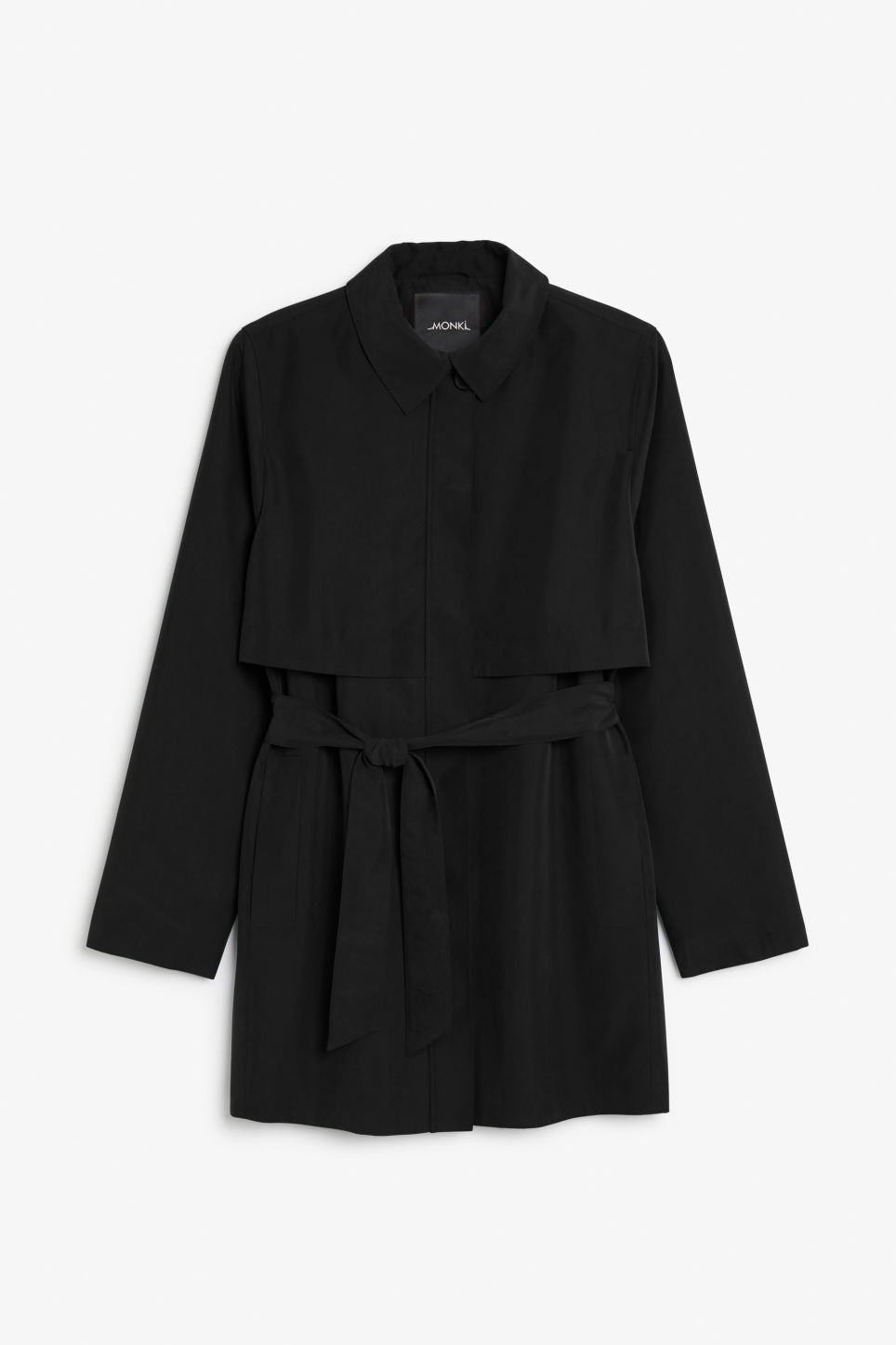 Front image of Monki soft trench coat in black