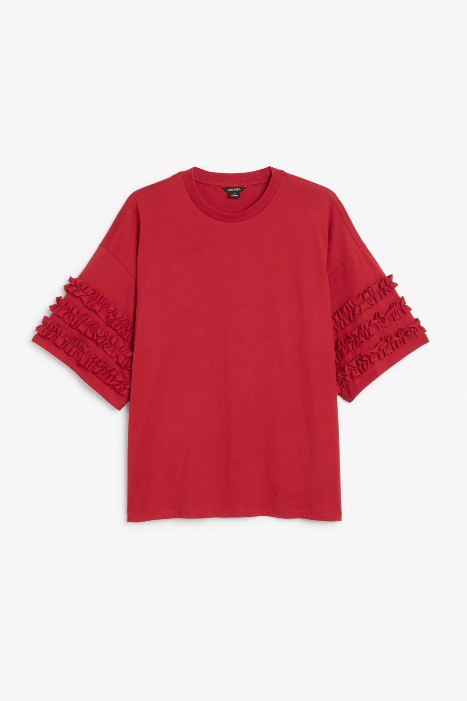 Front image of Monki t-shirt with ruffle detail in red