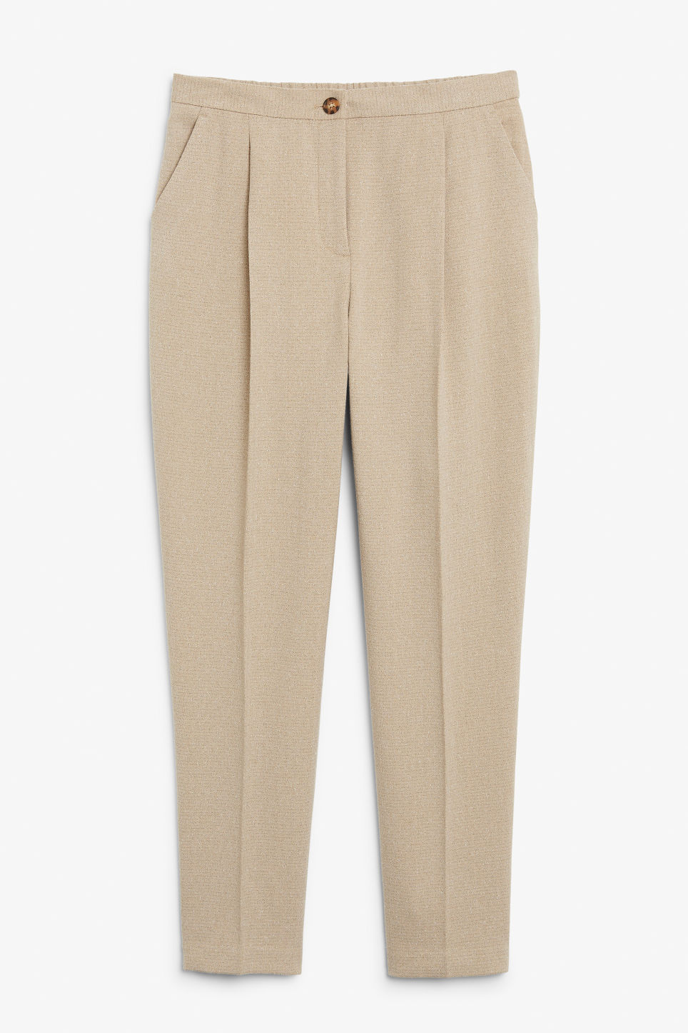 Front image of Monki dressy tapered trousers in beige