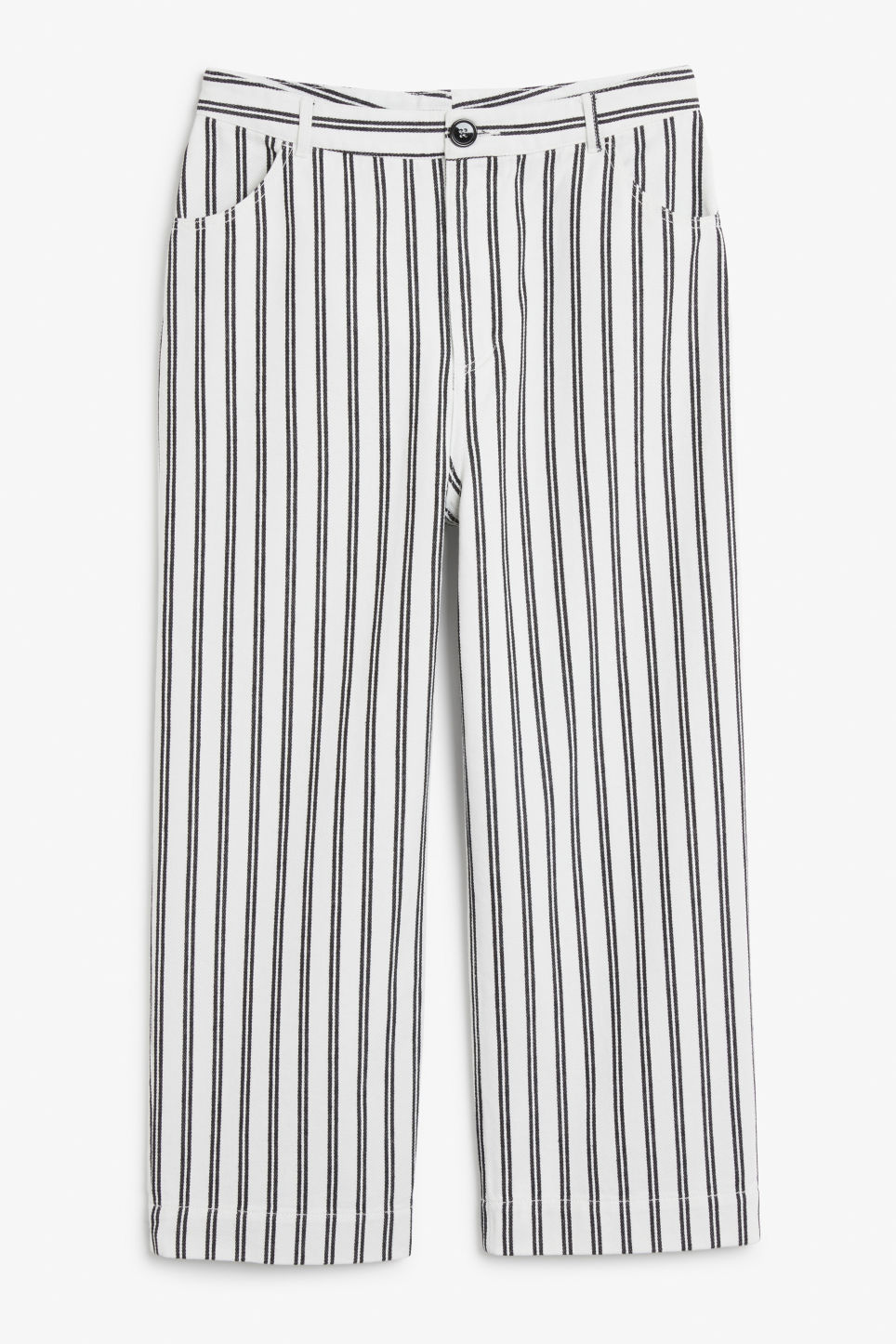Front image of Monki wide trousers in white