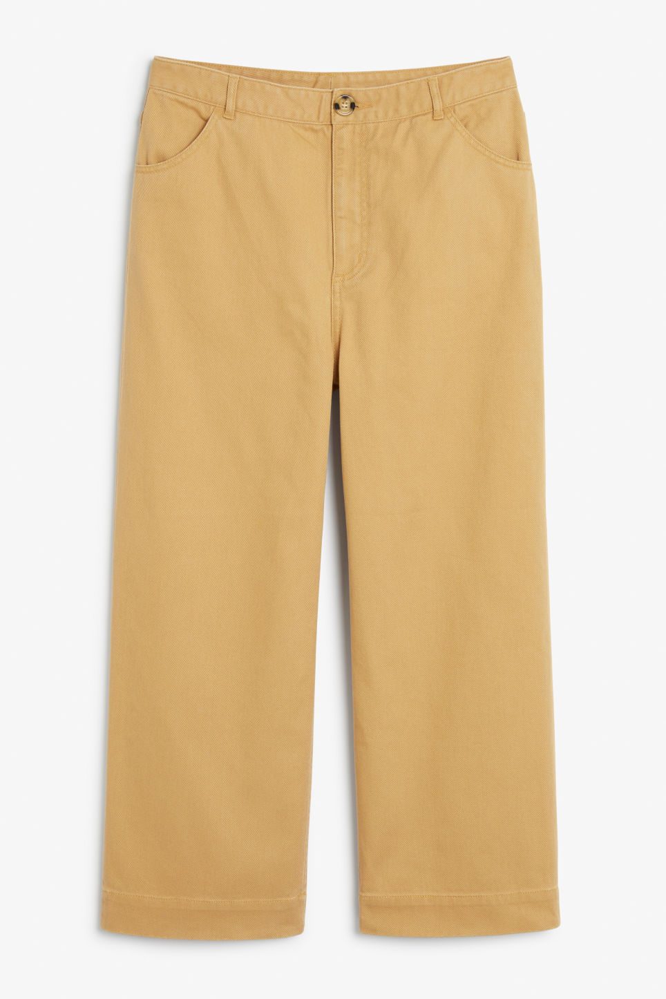 Front image of Monki wide trousers in yellow